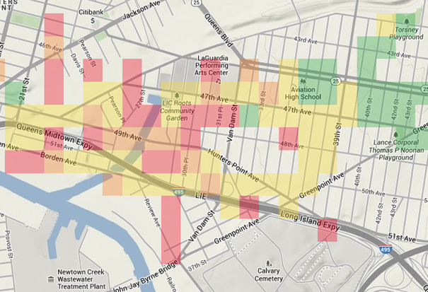 Screenshot of the QVT students' AirCasting CrowdMap displaying relative concentrations of particulate matter